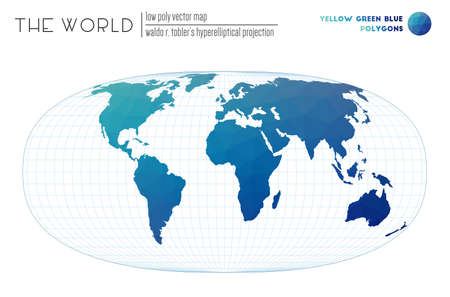 Low poly design of the world. Waldo R. Tobler's hyperelliptical projection of the world. Yellow Green Blue colored polygons. Neat vector illustration.