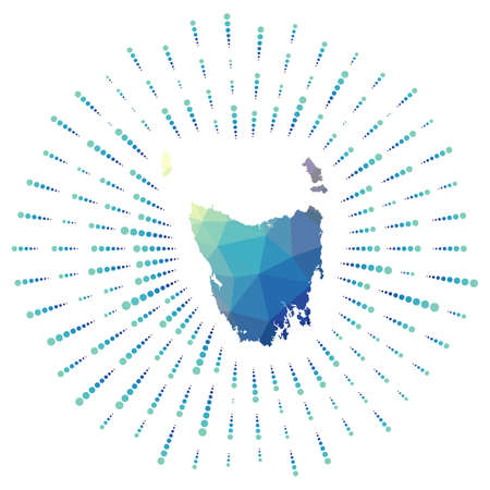 Shape of Tasmania, polygonal sunburst. Map of the island with colorful star rays. Tasmania illustration in digital, technology, internet, network style. Vector illustration.