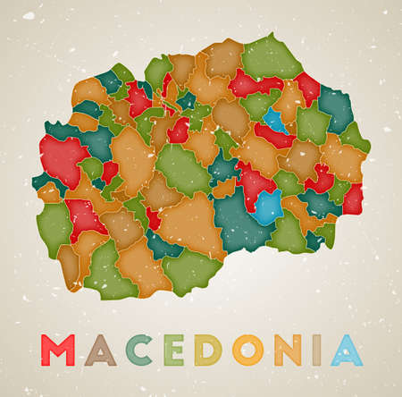 Macedonia map. Country poster with colored regions. Old grunge texture. Vector illustration of Macedonia with country name.  イラスト・ベクター素材