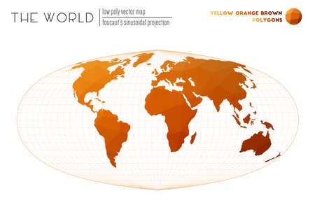 Polygonal world map. Foucaut's sinusoidal projection of the world. Yellow Orange Brown colored polygons. Stylish vector illustration.  イラスト・ベクター素材