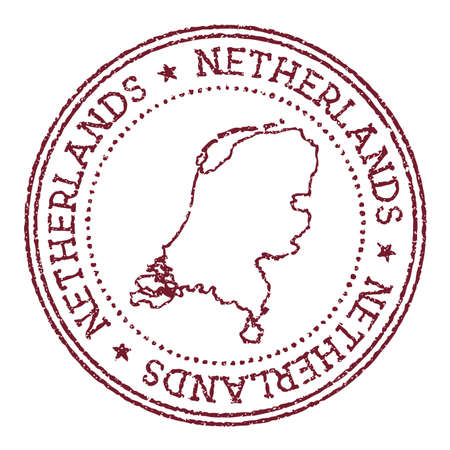Netherlands round rubber stamp with country map. Vintage red passport stamp with circular text and stars, vector illustration.
