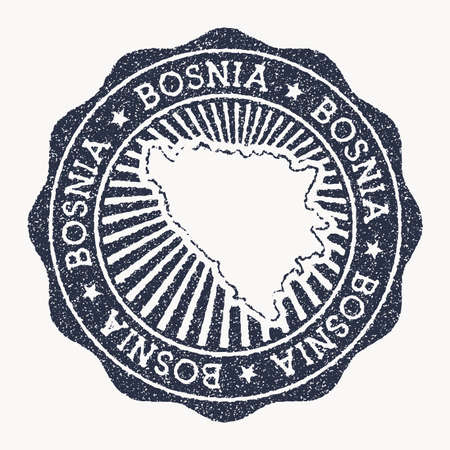 Bosnia stamp. Travel rubber stamp with the name and map of country, vector illustration. Can be used as insignia, logotype, label, sticker or badge of the Bosnia.  イラスト・ベクター素材