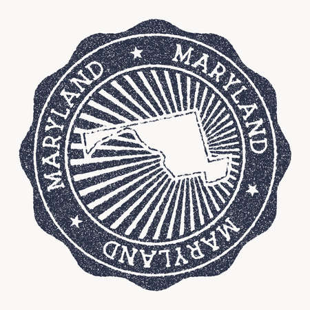 Maryland stamp. Travel rubber stamp with the name and map of us state, vector illustration. Can be used as insignia, logotype, label, sticker or badge of the Maryland.