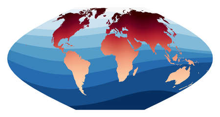 World Map Vector. McBryde-Thomas flat-polar sinusoidal equal-area projection. World in red orange gradient on deep blue ocean waves. Beautiful vector illustration.