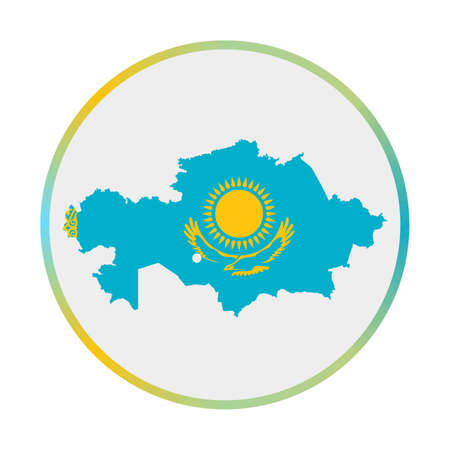 Kazakhstan icon. Shape of the country with Kazakhstan flag. Round sign with flag colors gradient ring. Powerful vector illustration.  イラスト・ベクター素材