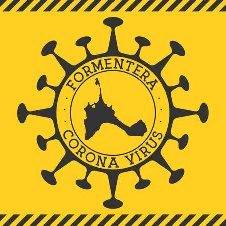 Corona virus in Formentera sign. Round badge with shape of virus and Formentera map. Yellow island epidemy lock down stamp. Vector illustration.