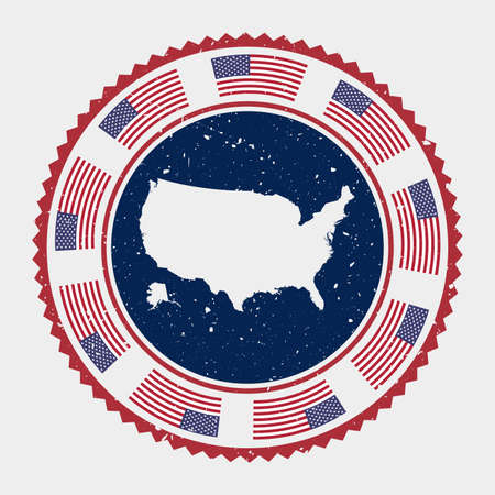 USA grunge stamp. Round logo with map and flag of USA. Country stamp. Vector illustration.