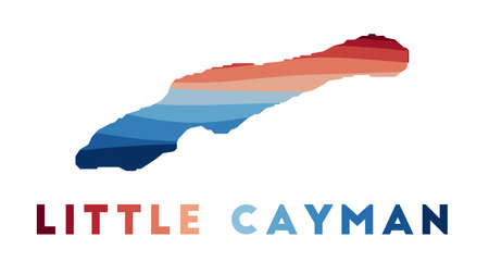 Little Cayman map. Map of the island with beautiful geometric waves in red blue colors. Vivid Little Cayman shape. Vector illustration.