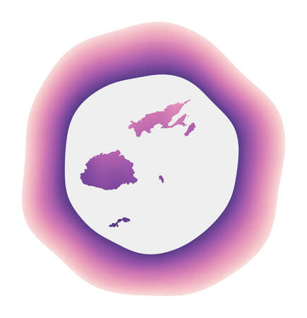 Fiji icon. Colorful gradient logo of the country. Purple red Fiji rounded sign with map for your design. Vector illustration.
