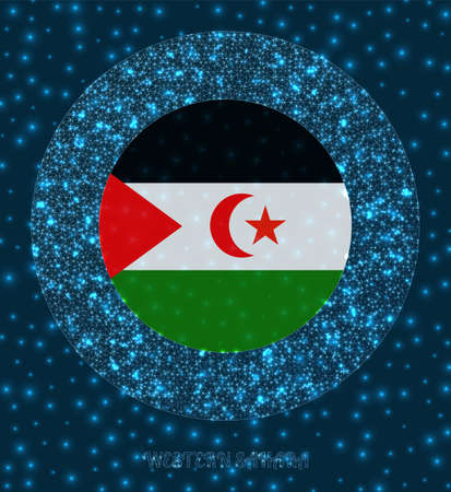 Round Western Sahara badge. Flag of Western Sahara in glowing network mesh style. Country network logo. Beautiful vector illustration.