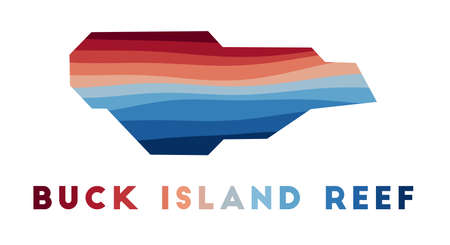 Buck Island Reef map. Map of the island with beautiful geometric waves in red blue colors. Vivid Buck Island Reef shape. Vector illustration.  イラスト・ベクター素材