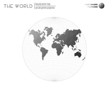 Vector map of the world. Van der Grinten projection of the world. Grey Shades colored polygons. Stylish vector illustration.  イラスト・ベクター素材