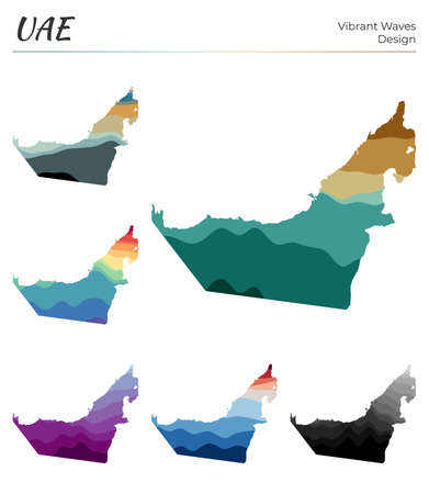 Set of vector maps of UAE. Vibrant waves design. Bright map of country in geometric smooth curves style. Multicolored UAE map for your design. Charming vector illustration.