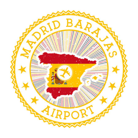 Madrid Barajas Airport stamp. Airport logo vector illustration. Madrid aeroport with country flag.  イラスト・ベクター素材