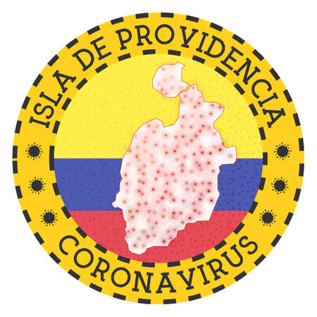Coronavirus in Isla de Providencia sign. Round badge with shape of Isla de Providencia. Yellow island lock down emblem with title and virus signs. Vector illustration.  イラスト・ベクター素材