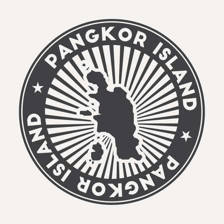 Pangkor Island round logo. Vintage travel badge with the circular name and map of island, vector illustration. Can be used as insignia, logotype, label, sticker or badge of the Pangkor Island.  イラスト・ベクター素材