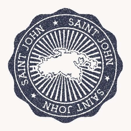 Saint John stamp. Travel rubber stamp with the name and map of island, vector illustration. Can be used as insignia, logotype, label, sticker or badge of the Saint John.