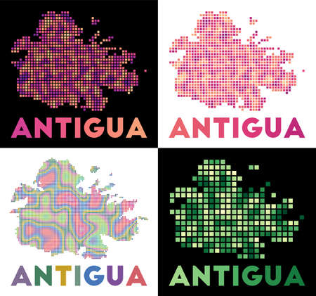 Antigua map. Collection of map of Antigua in dotted style. Borders of the island filled with rectangles for your design. Vector illustration.