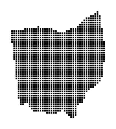 Ohio map. Map of Ohio in dotted style. Borders of the us state filled with rectangles for your design. Vector illustration.