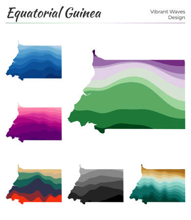 Set of vector maps of Equatorial Guinea. Vibrant waves design. Bright map of country in geometric smooth curves style. Multicolored Equatorial Guinea map for your design. Artistic vector illustration.