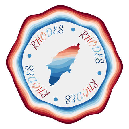 Rhodes badge. Map of the island with beautiful geometric waves and vibrant red blue frame. Vivid round Rhodes logo. Vector illustration.
