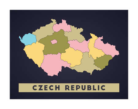 Czech Republic map. Country poster with regions. Shape of Czech Republic with country name. Stylish vector illustration.