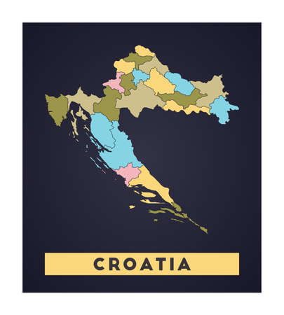 Croatia map. Country poster with regions. Shape of Croatia with country name. Captivating vector illustration.  イラスト・ベクター素材