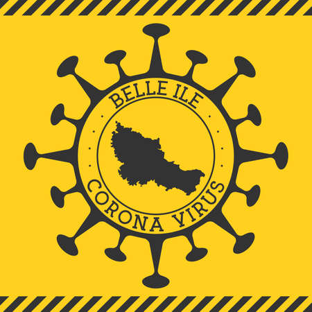 Corona virus in Belle Ile sign. Round badge with shape of virus and Belle Ile map. Yellow island epidemy lock down stamp. Vector illustration.
