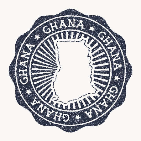 Ghana stamp. Travel rubber stamp with the name and map of country, vector illustration. Can be used as insignia, logotype, label, sticker or badge of the Ghana.