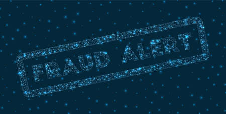 Fraud alert word in digital style. Glowing geometric fraud alert badge. Awesome vector illustration.  イラスト・ベクター素材