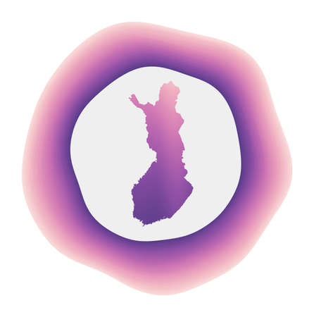 Finland icon. Colorful gradient logo of the country. Purple red Finland rounded sign with map for your design. Vector illustration.