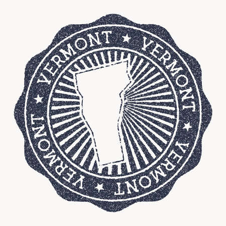 Vermont stamp. Travel rubber stamp with the name and map of us state, vector illustration. Can be used as insignia, logotype, label, sticker or badge of the Vermont.  イラスト・ベクター素材