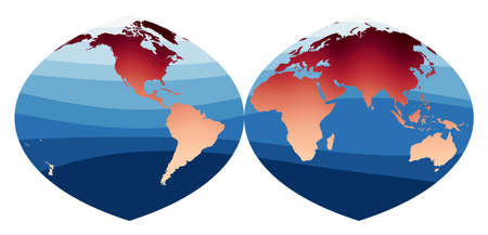 World Map Vector. Quartic authalic projection interrupted into two hemispheres. World in red orange gradient on deep blue ocean waves. Cool vector illustration.  イラスト・ベクター素材
