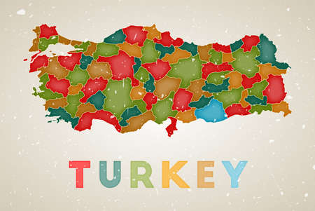 Turkey map. Country poster with colored regions. Old grunge texture. Vector illustration of Turkey with country name.
