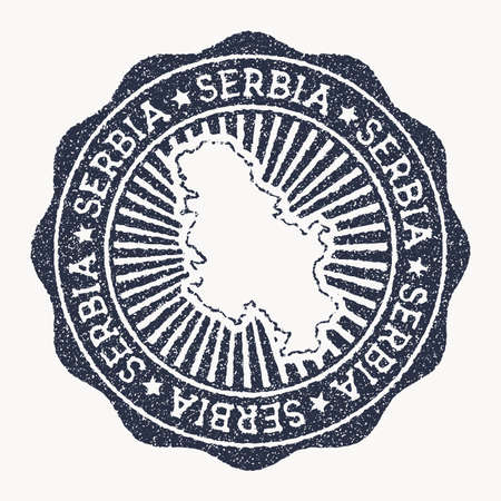 Serbia stamp. Travel rubber stamp with the name and map of country, vector illustration. Can be used as insignia, logotype, label, sticker or badge of the Serbia.