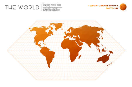 Polygonal world map. Eckert I projection of the world. Yellow Orange Brown colored polygons. Energetic vector illustration.  イラスト・ベクター素材