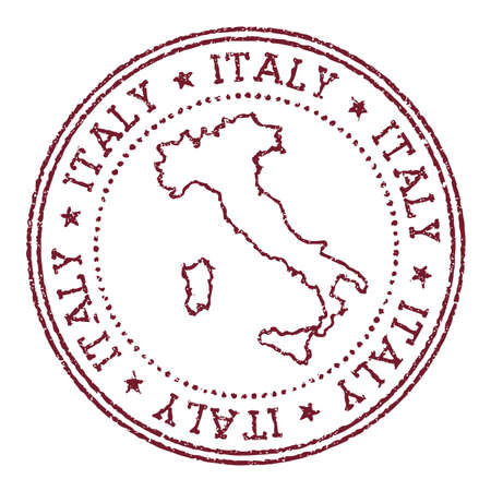 Italy round rubber stamp with country map. Vintage red passport stamp with circular text and stars, vector illustration.  イラスト・ベクター素材