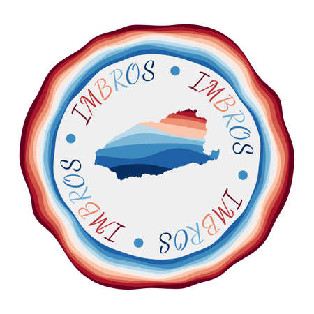 Imbros badge. Map of the island with beautiful geometric waves and vibrant red blue frame. Vivid round Imbros logo. Vector illustration.