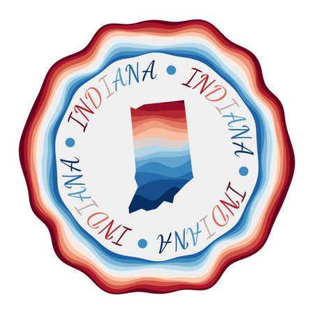 Indiana badge. Map of the us state with beautiful geometric waves and vibrant red blue frame. Vivid round Indiana logo. Vector illustration.
