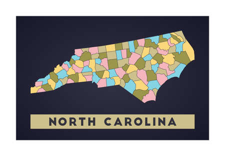 North Carolina map. Us state poster with regions. Shape of North Carolina with us state name. Authentic vector illustration.