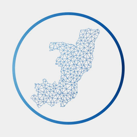Congo icon. Network map of the country. Round Congo sign with gradient ring. Technology, internet, network, telecommunication concept. Vector illustration.