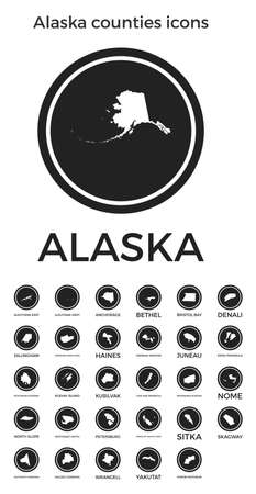 Alaska counties icons. Black round with us state counties maps and titles. Vector illustration.