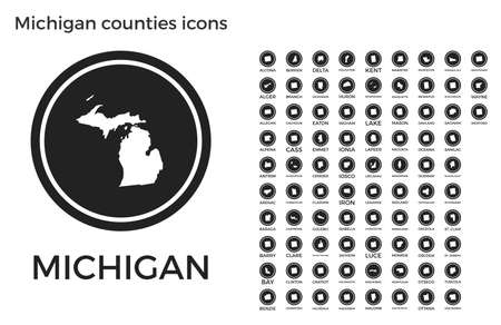 Michigan counties icons. Black round circle with us state counties maps and titles. Vector illustration. Ilustração