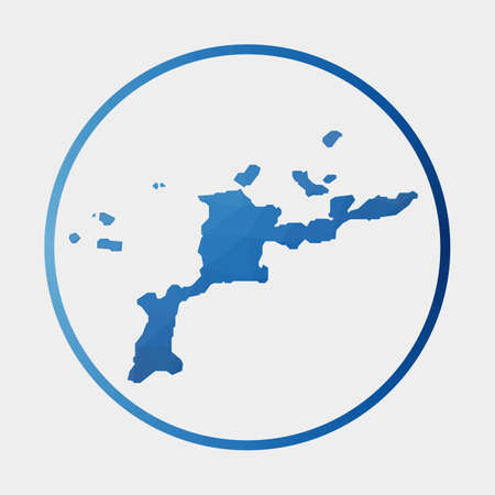 Virgin Gorda icon. Polygonal map of the island in gradient ring. Round low poly Virgin Gorda sign. Vector illustration.