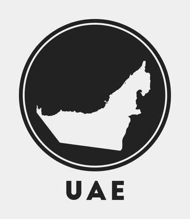 UAE icon. Round circle with country map and title. Stylish UAE badge with map. Vector illustration.