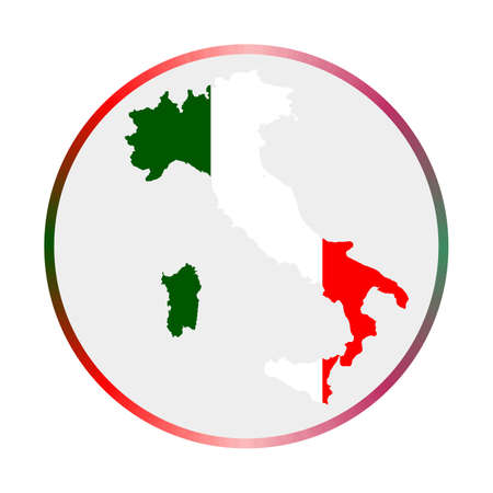 Italy icon. Shape of the country with Italy flag. Round sign with flag colors gradient ring. Creative vector illustration.