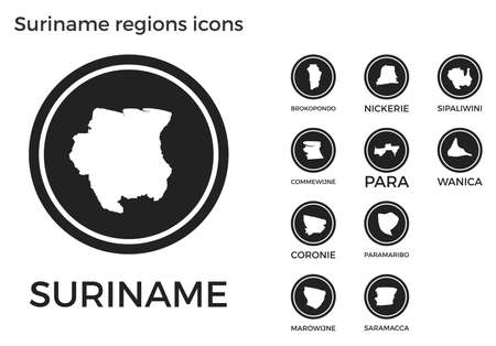 Suriname regions icons. Black round circle with country regions maps and titles. Vector illustration.