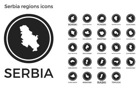 Serbia regions icons. Black round circle with country regions maps and titles. Vector illustration.