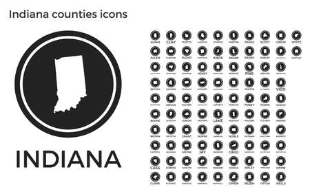 Indiana counties icons. Black round circle with us state counties maps and titles. Vector illustration. Ilustração