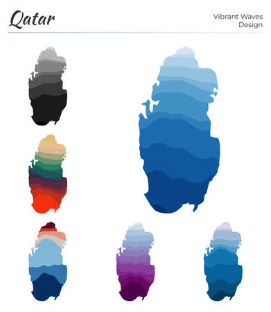 Set of vector maps of Qatar. Vibrant waves design. Bright map of country in geometric smooth curves style. Multicolored Qatar map for your design. Authentic vector illustration.